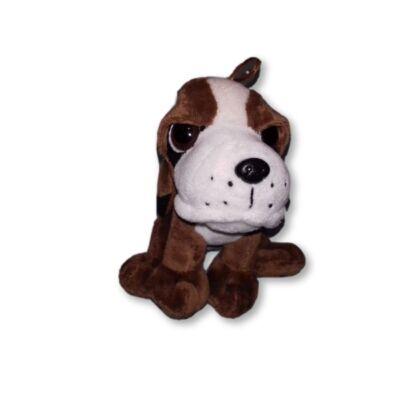 20 cm-es nagyszemű barna plüss kutya