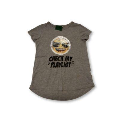 146-152-es szürke átfordítos simogató póló - Emoji