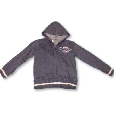 104-110-es szürkéskék kapucnis pamut pulóver