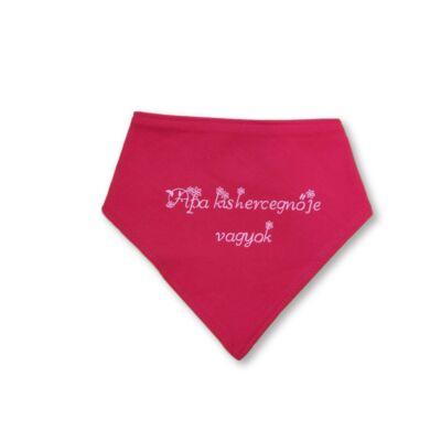 Pink virágos pamut feliratos nyálfogó, nyálkendő - ÚJ