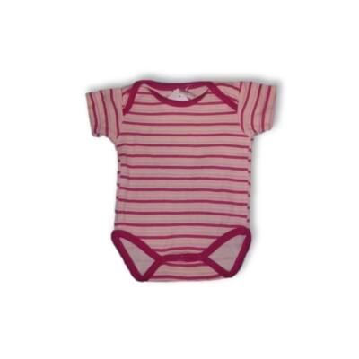 50-56-os rózsaszín csíkos rövidujjú body - Jacky