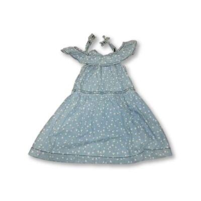 104-es kék szivecskés farmerruha - Pepco