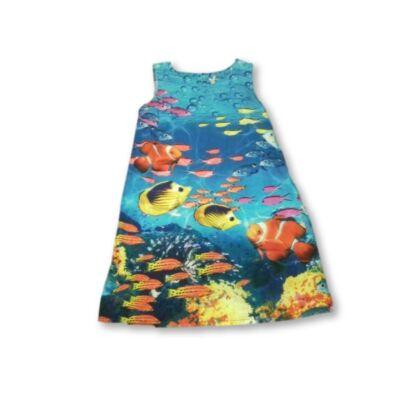 140-es kék halas nyári vászonruha - Next