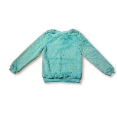 146-152-es zöld szőrmés pihe-puha pulóver - Pepco