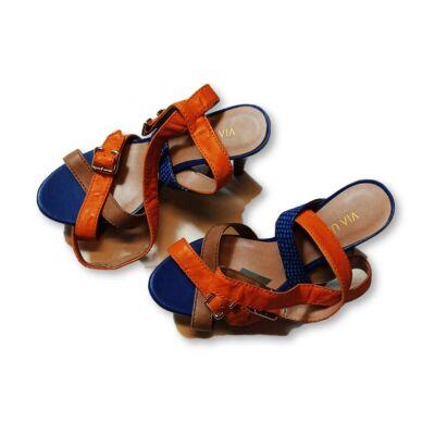 38-as kék-narancssárga magassarkú szandál - Via Uno