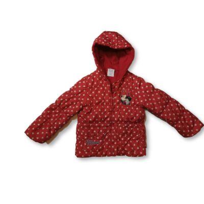 104-es piros szivecskés télikabát - Minnie Egér