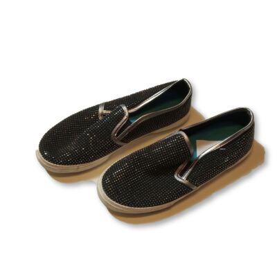 36-os fekete csillogó strasszos papucscipő