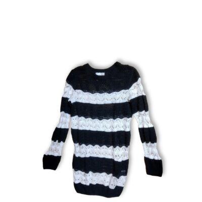 146-152-es fekete-fehér kötött lány pulóver - H&M