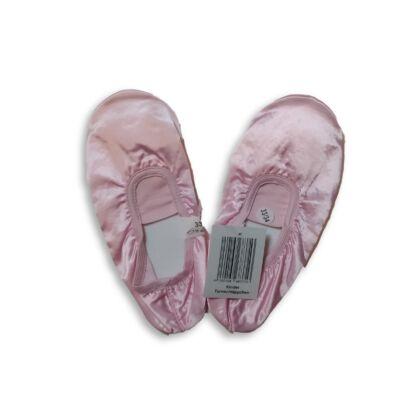 33-34-es rózsaszín szatén balettpapucs, tornapapucs - ÚJ