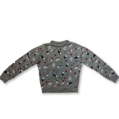 158-as szürke cicás pamut pulóver