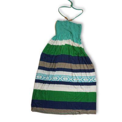 152-es zöld-kék csíkos nyári pamutruha