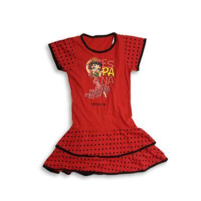 128-134-es piros pöttyös pamutruha, spanyol táncosnő