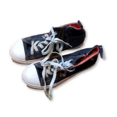 36-os kék hímzett magasszárú vászoncipő, tornacipő