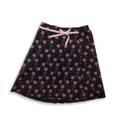 140-es fekete-rózsaszín virágos vászonszoknya - F&F