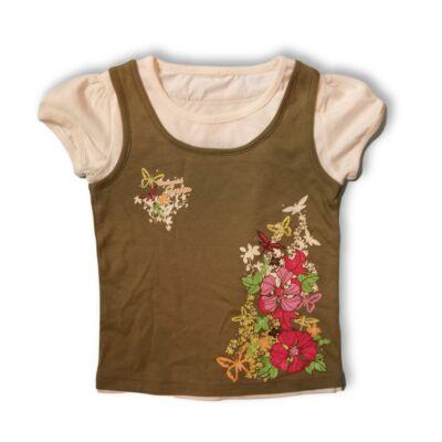 110-es khaki virágos duplahatású póló