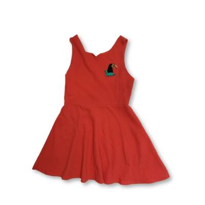 152-es korallszínű madaras ruha - Zara