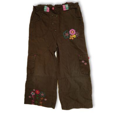 104-110-es barna virágos vászonnadrág - Mini Boden