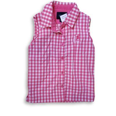 104-110-es rózsaszín-fehér kockás ujjatlan blúz - Esprit