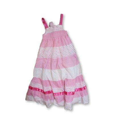 110-es rózsaszín-fehér pántos ruha - Kids Stuff