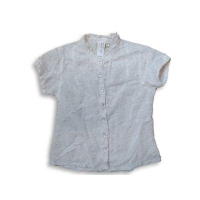 134-es fehér alapon szürke csillagos rövidujjú blúz - Girls