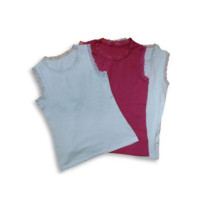 140-146-os csipkés szélű trikók, 3 db egyben