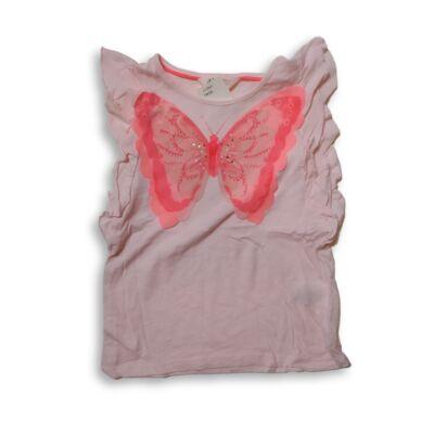 122-128-as rózsaszín pillangós póló - H&M