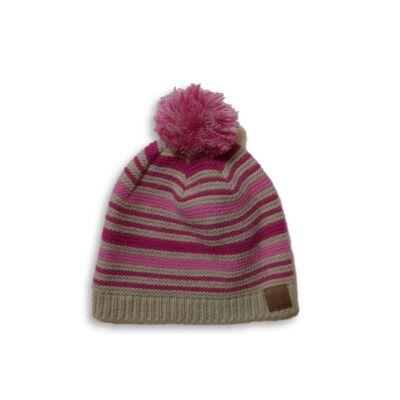48-52 cm-es drapp-pink kötött sapka