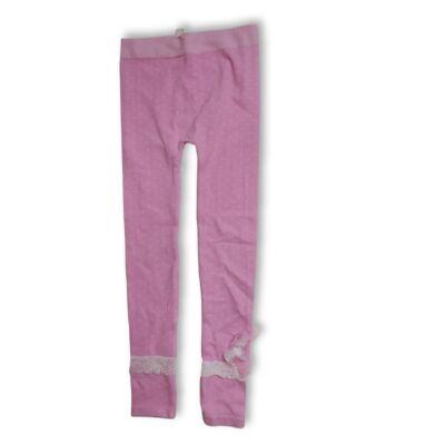 134-140-es rózsaszín csipkés bokájú lábfej nélküli harisnya - ÚJ