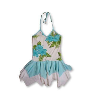 116-os kék virágos nyakbakötős ruha