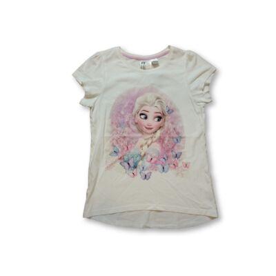 134-140-es csillogó mintájú fehér póló - Frozen, Jégvarázs
