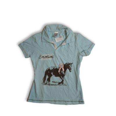 140-146-os kék galléros lovas póló - Decathlon