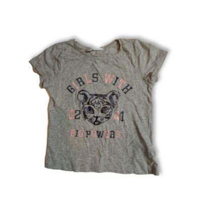 122-128-as szürke kistigrises lány póló - H&M