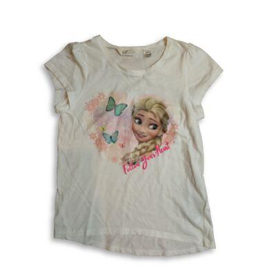 134-140-es fehér póló - Frozen, Jégvarázs - H&M
