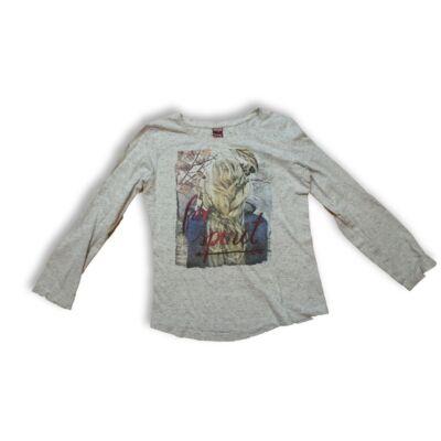 134-140-es szürke lányos pamutfelső - Y.F.K