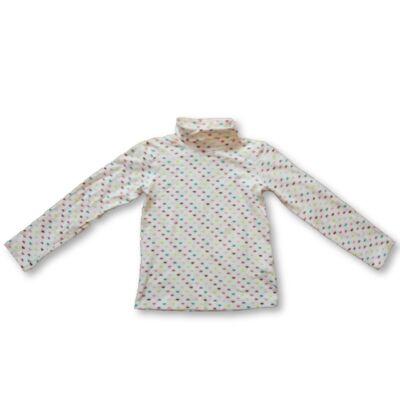 128-as fehér szívecskés garbónyakú pamutfelső - H&M