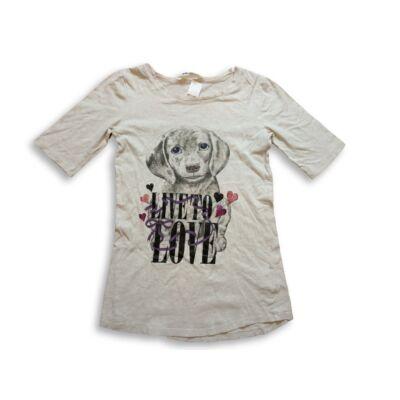 152-es drapp hosszított kutyás póló - H&M