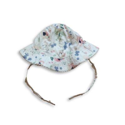 40 cm-es fejre fehér virágos nyári kalap