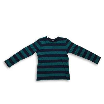 146-152-es kék-zöld csíkos pamutfelső - H&M