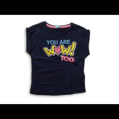 98-as sötétkék feliratos flitteres lány póló - Kiki & Koko - ÚJ