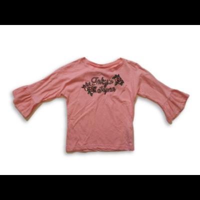 134-140-e rózsaszín virágos flitteres pamutfelső - Y.F.K. - ÚJ