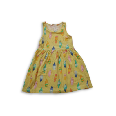 122-128-as sárga papagájos ujjatlan ruha - H&M