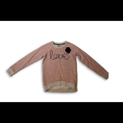 140-146-os piros-szürke csíkos flitteres pulóver - Made with Love
