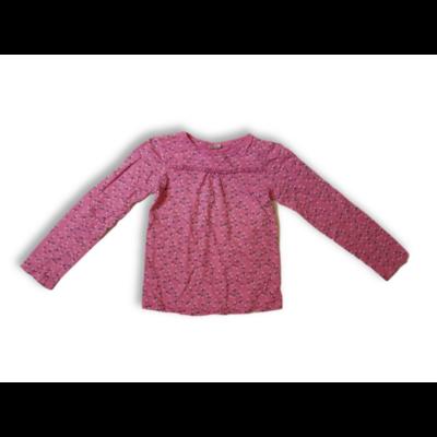128-134-es rózsaszín virágos pamutfelső