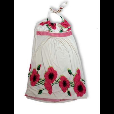 Női XXL-es fehér virágos nyakbakötős ruha - Serrato