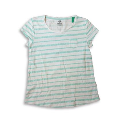 146-152-es zöld csíkos lány póló - H&M