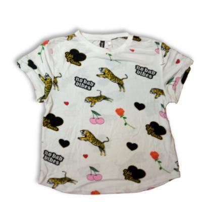 Női XS-es fehér tigrises-cseresznyés póló - H&M