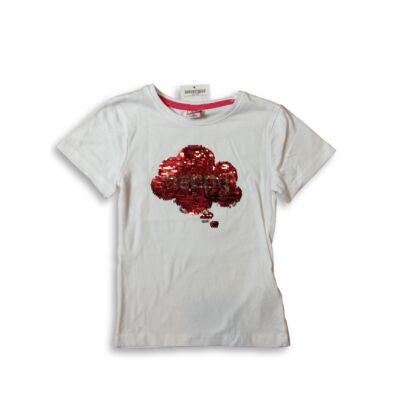 116-os fehér feliratos átfordítható flitteres póló - Kiki & Koko - ÚJ
