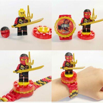 Piros Ninjago óra, figurával - ÚJ