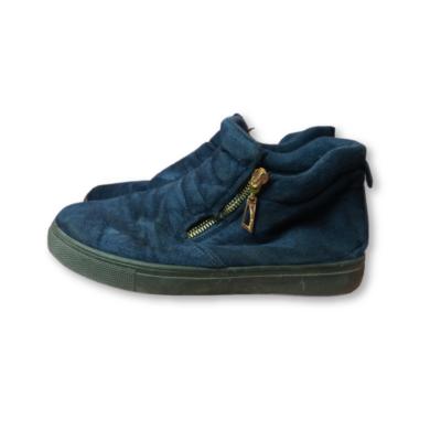 36-os női kék velúrszerű cipzáros bokacipő