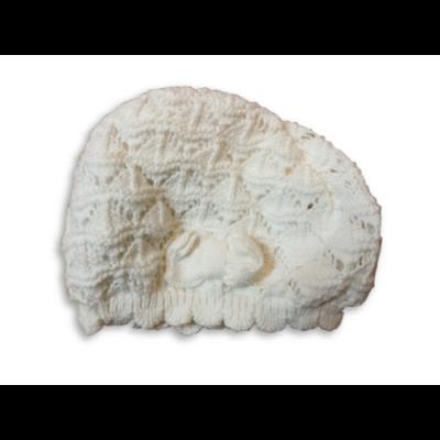 42-44 cm-es fejre fehér horgolt pamut bélésű sapka - H&M